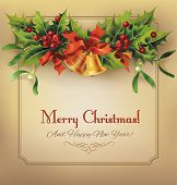foto of holly  - Christmas vintage card with bells and holly garland - JPG