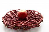 Fresh Red Apple on Wooden Underlay