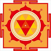 stock photo of shakti  - Sacred Hindu yantra of Shrimati Durga Devi - JPG