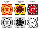 stock photo of sanskrit  - Sakred Hindu yantras of the Goddess forms - JPG