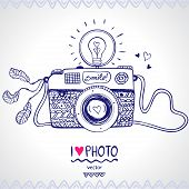 stock photo of monochromatic  - illustration sketch vintage retro photo camera - JPG