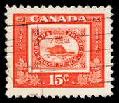 CANADA - CIRCA 1951: A stamp printed in Canada issued for the centenary of First Canadian Postage St