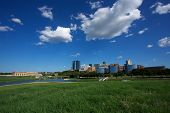stock photo of trinity  - View of Downtown Fort Worth from the Trinity River - JPG