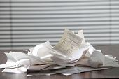 stock photo of receipt  - stack of the receipt on the table - JPG