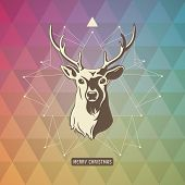 image of deer  - christmas background with geometrical pattern - JPG
