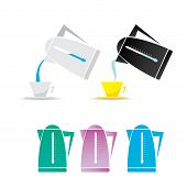 foto of kettling  - vector electric kettle icon set - JPG