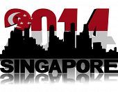 Singapore skyline with 2014 flag text illustration