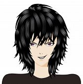 stock photo of emo-boy  - Cartoon trendy punk emo boy with black hair - JPG