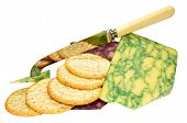 image of purple sage  - Wedges of sage and port wine derby cheeses with biscuits and cheese knife - JPG