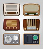 set of vector old radios