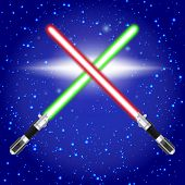 stock photo of saber  - Vector illustration of red and green crossed light sabers - JPG