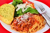 image of butter-lettuce  - Spicy Sausage and Tomato Sauce on Spaghetti with salad and garlic bread - JPG
