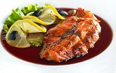 pic of salmon steak  - Grilled salmon steak with lemon and tasty sause - JPG