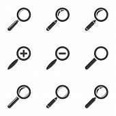 Magnifying Glass Icon Set. Zoom, Search, Find. Vector