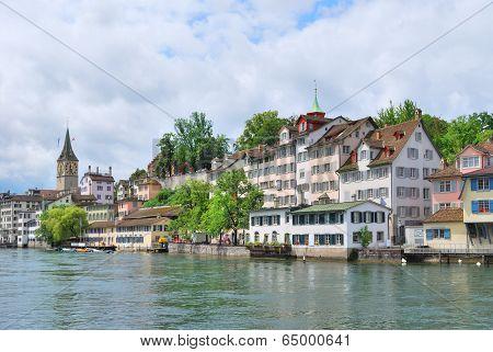 Zurich. River Limmat Embankment