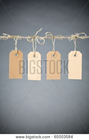 Price Tags Or Retail Labels On A Line