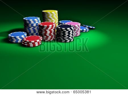 Poker Casino Chips On Green Table