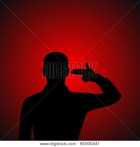 Silhouette Of A Desperate Man