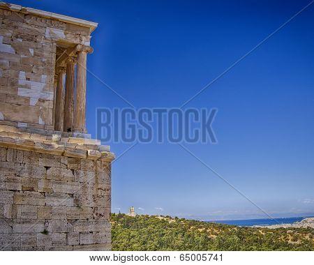 Athena Niki ionian order temple and Athens cityscape Greece