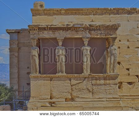 Caryatids statues and erechtheion, Athens Greece
