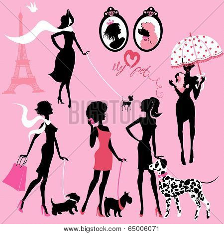 Set Of Black Silhouettes Of Fashionable Girls With Their Pets - Dogs (dalmatian, Terrier, Poodle, Ch