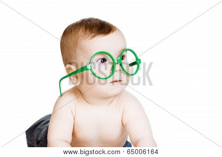 Little Baby Boy In The Big Funny Glasses. Isolated On White Background
