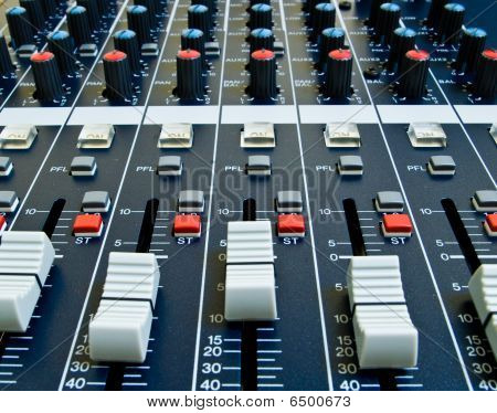 Faders On Audio Mixer