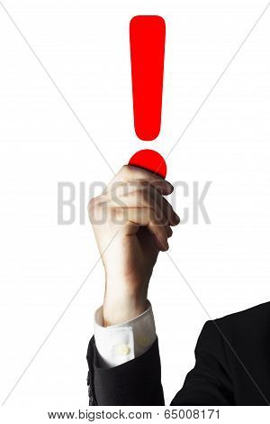 hand holding red exclamation mark