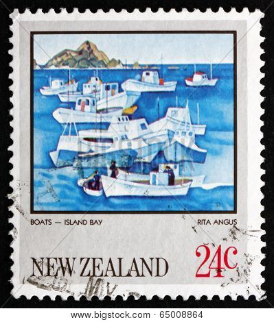 Postage Stamp New Zealand 1983 Island Bay, By Rita Angus