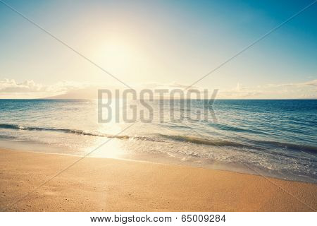 Beach and Tropical Sea in Hawaii at Sunset