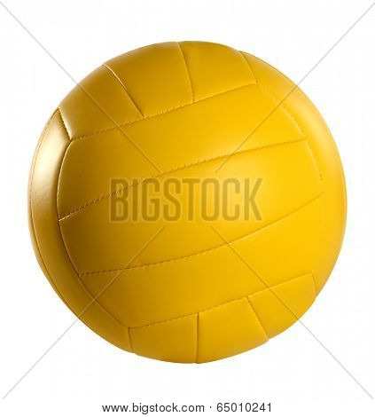 Yellow volleyball isolated over white background- With clipping path