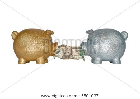 Gold And Silver Piggy Banks Fighting For Money