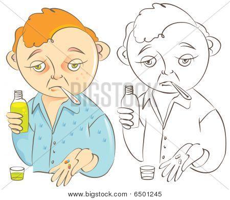 Mann mit der Grippe