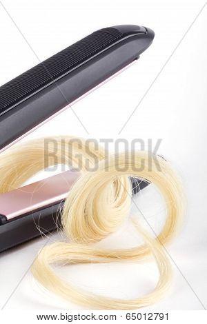 Lock Of Hair In Hair Straightener