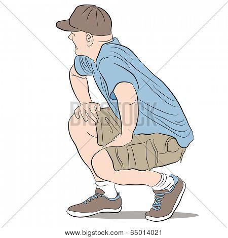 An image of a kneeling man.