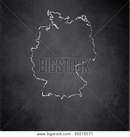 Germany map blackboard chalkboard raster