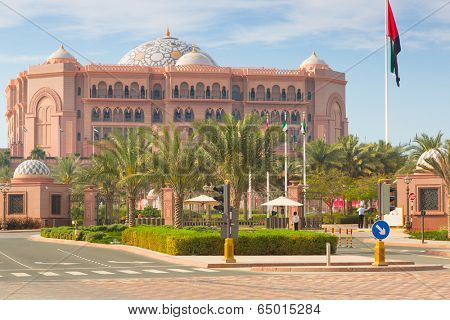 ABU DHABI, UAE - MARCH 29: Emirates Palace and gardens on March 29, 2014, UAE. Five stars Emirates Palace is the second most expensive hotel ever built for about 6 billion USD.