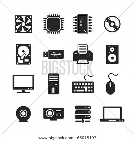 Computer Hardware Icons. PC Components. Raster version