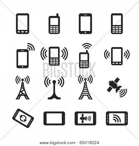 Mobile devices and wireless technology. Simplus icons series. Raster version