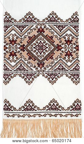 embroidered good by cross-stitch pattern. ukrainian ethnic ornament