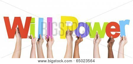 Diverse Hands Holding the Words Will Power