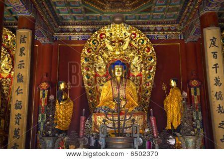 Altar de Buda azul detalhes Yonghe Gong budista templo Beijing China