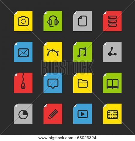 Collection of file association icons. Flat design template