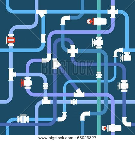Seamless background of color water pipeline