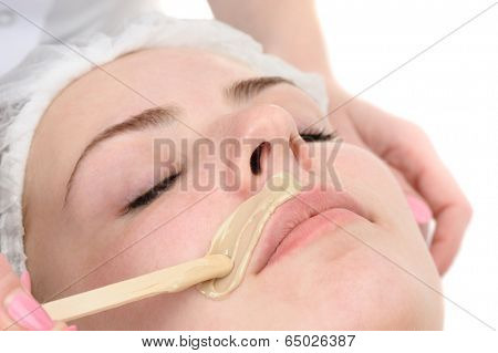 beauty salon, mustache depilation, facial skin treatment and care