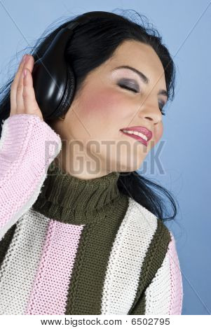 Smiling Woman Listen And Enjoy Music