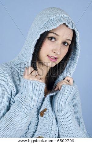 Female Posing In Blue Wool Hood