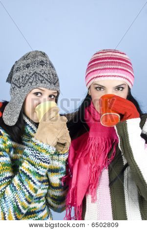 Best  Friends Girls With Hot Drink