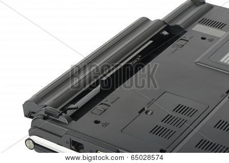 Closeup Of Laptop Battery, Isolated On White