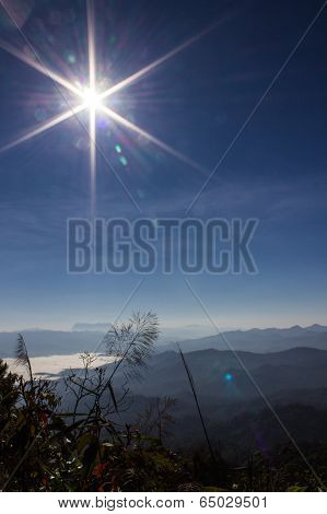 Sunset Sea Of Mist With Doi Luang Chiang Dao, View Form Doi Dam In Wianghaeng Chiangmai Thailand